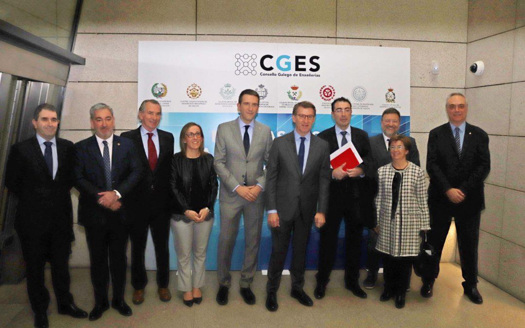 Núñez Feijóo defende que as propostas dos enxeñeiros galegos a través do CGES servirán para continuar traballando en liñas que fagan progresar a Galicia