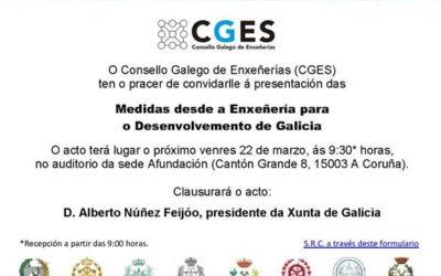 O CGES presenta o venres 22 as 'Medidas desde a Enxeñería para o Desenvolvemento de Galicia'